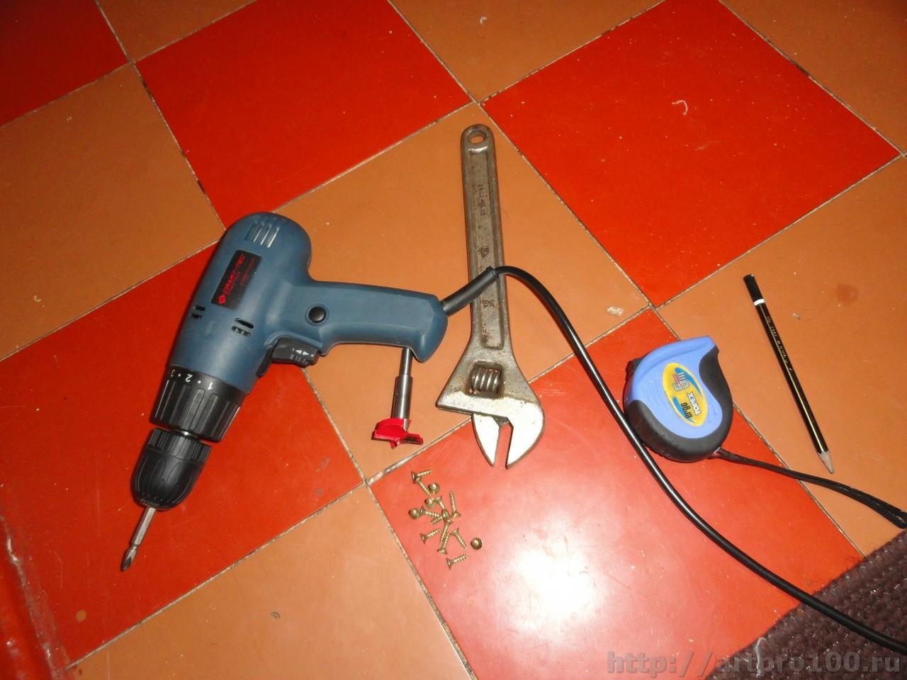 Необходимый инструмент для установки мебельной петли